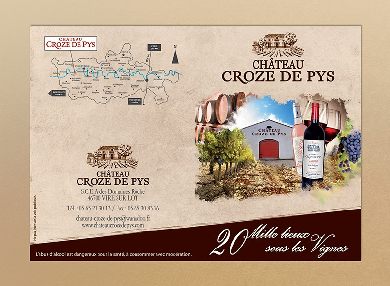 brochure étiquette cahors  vin rouge rose blanc vigneron bordeaux saumur
