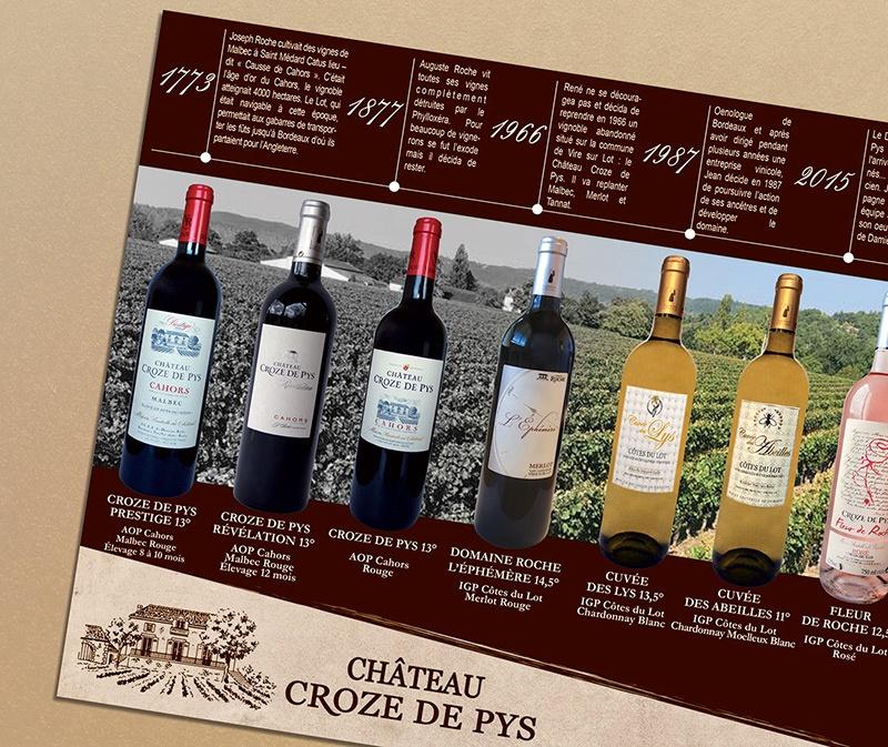 dépliant étiquette cahors com1vision vin rouge rose blanc vigneron bordeaux saumur